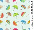 Seamless vector pattern with colorful umbrellas - stock vector