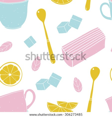 Seamless vector pattern with cups, lemon slices, cakes and spoons.  Colorful doodle illustrated food background for kitchen and cafe stuff. Cropped with clipping mask