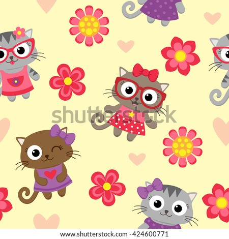 Seamless vector pattern with cute cartoon cats - stock vector