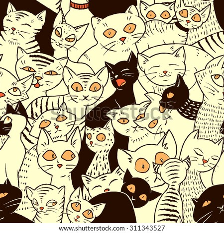seamless vector pattern cute cats wallpapers stock vector