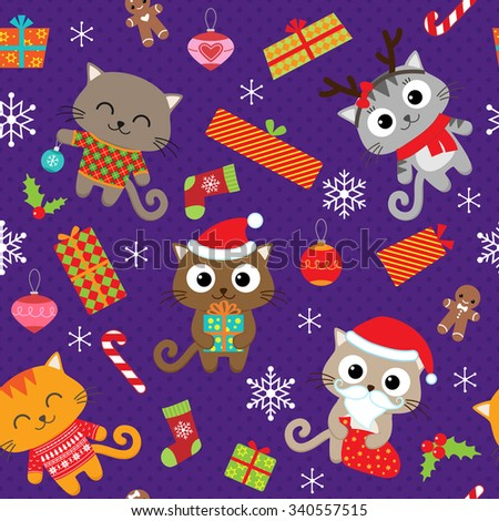 Seamless vector pattern with cute cats in Christmas costumes - stock vector