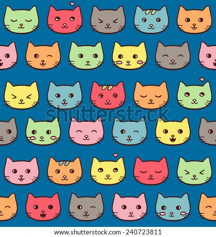 Seamless vector pattern with cute freehand emotional cats on dark blue background - stock vector