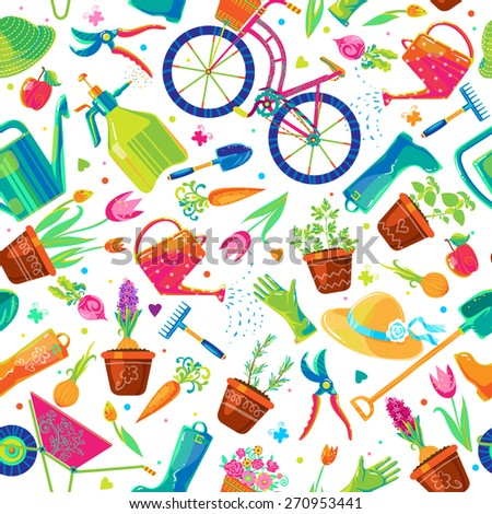 Seamless Vector Pattern With Cute Funny Colorful Garden Tools, Clothes,  Vegetables, Herbs And