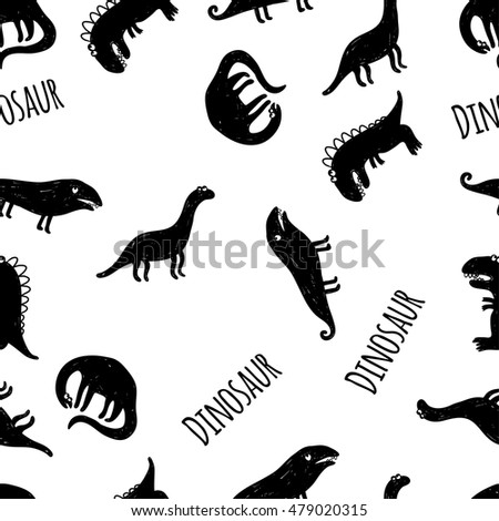 Seamless vector pattern with dinosaurs on white background