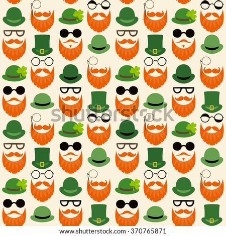 Seamless vector pattern with faces in hats. St. Patrick's Day texture print. - stock vector