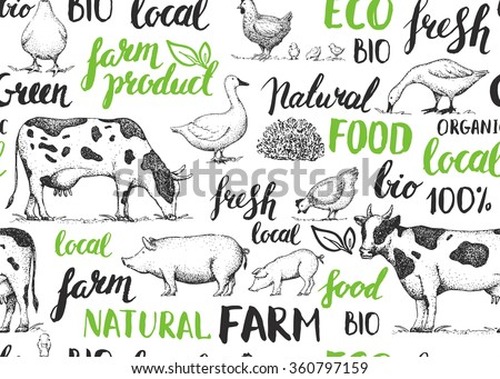 Seamless vector pattern with farm animals. Handwritten elements with rough edges. Food, farm, animals, natural. Ink brush hand lettering. Green. Vintage retro farm logo. Sketch. Farmers market.