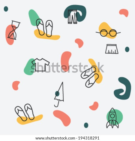 Seamless vector pattern with flat icons. background with woman clothes.