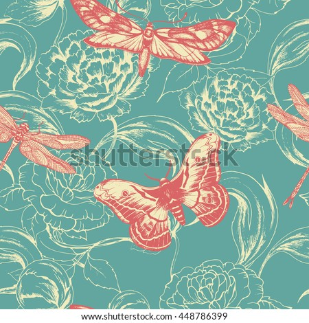 Seamless vector pattern with flowers , butterfly , dragonfly . Hand drawn floral background in vintage style. For wedding, greeting card, wrapping paper, fabric and other seamless design.