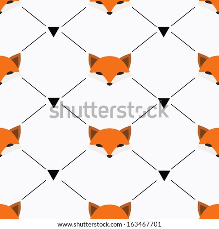Seamless vector pattern with foxes - stock vector