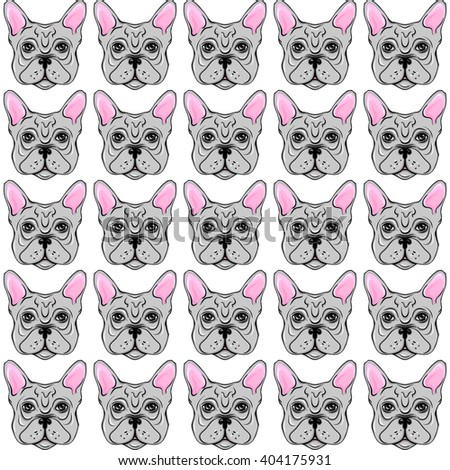 Seamless vector pattern with French Bulldog. Hipster repeat background with dogs. Fashionable print fabric. Creative design for wallpaper, wrapping paper, textile, notebook.