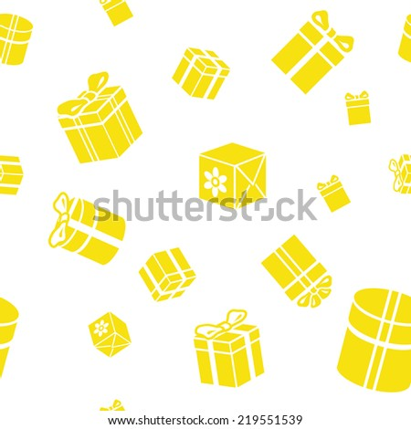 Seamless vector pattern with gift boxes yellow - stock vector