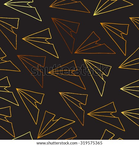 seamless vector pattern with golden airplane paper - stock vector