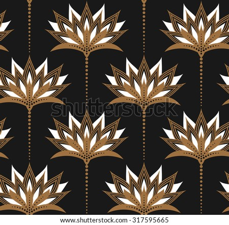Seamless vector pattern with golden floral ornament on dark grey solid color background. Gorgeous texture. Easy-to-edit, without gradient.