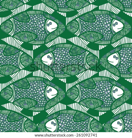 Seamless vector pattern with green African fish. Hand drawn. Abstract ornamental decorative background. Repeating colorful background texture. Cloth design. Wallpaper, wrapping. - stock vector