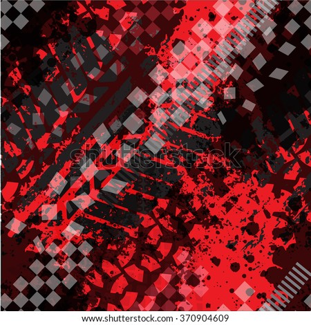 Seamless vector pattern with Grunge Tire Tracks on red background. pattern for boy  - stock vector