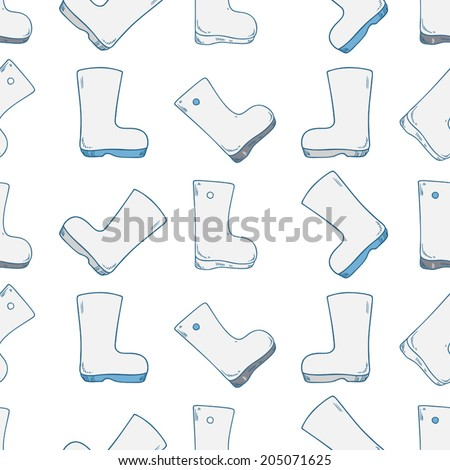 Seamless vector pattern with gumboots on white background