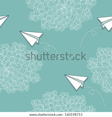Seamless vector pattern with hand-drawn clouds and paper airplanes. Seamless patterns are used in textile design, postcards, calendars, websites, wallpapers, packages. - stock vector