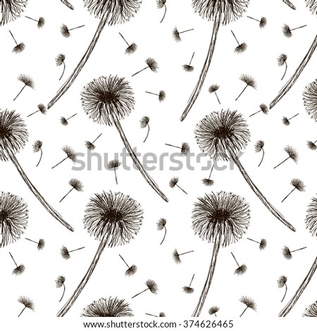 Seamless vector pattern with hand drawn dandelions on white background.  - stock vector