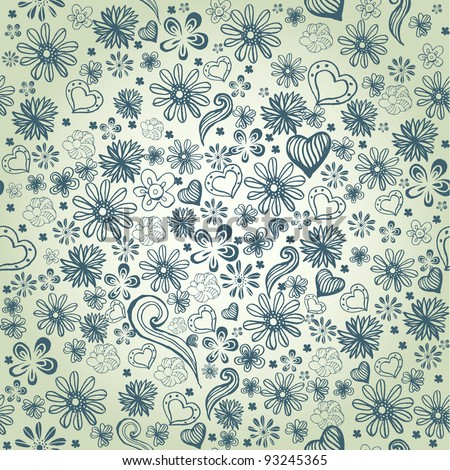 seamless vector pattern with hand drawn flowers. EPS 8 - stock vector
