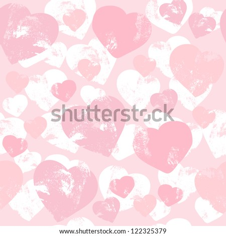 Seamless vector pattern with hearts, grunge love texture - stock vector
