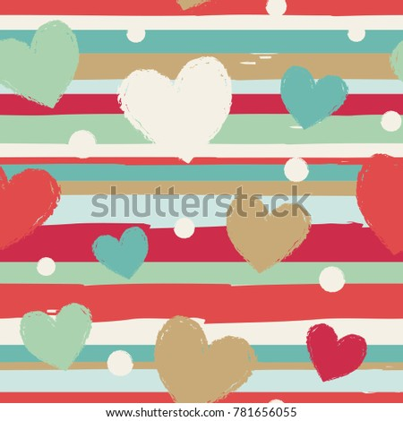 Seamless vector pattern with horizontal stripes and hearts.