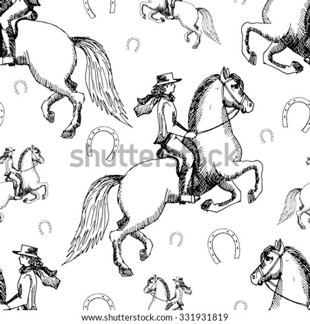 Seamless vector pattern with horse and rider. White and black.