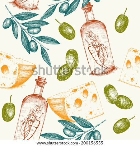 Seamless vector pattern with  ink hand drawn traditional italian food - olive, olive oil, cheese. Vintage olive background