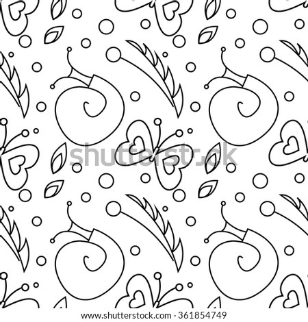 Seamless vector pattern with insects, black and white background with snails, butterflies and dots. - stock vector