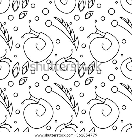Seamless vector pattern with insects, chaotic black and white background with snails, leaves and dots. - stock vector