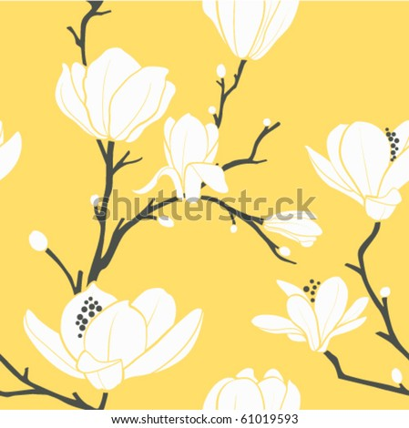 seamless vector pattern with magnolia flowers - stock vector