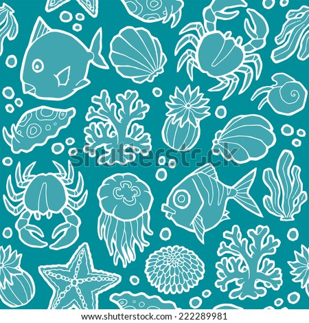 seamless vector pattern with marine animals and plants