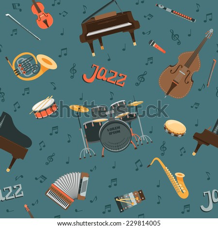 Seamless vector pattern with musical instruments  - stock vector