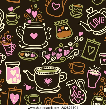 Seamless vector pattern with of tea collection with a tea pot, tea cup, jars, jugs, heart, glass, love lettering. In vintage style.  Hand-drown vintage background. Black and white. - stock vector