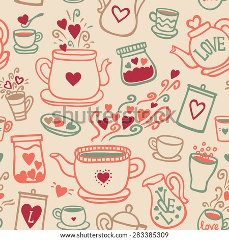 Seamless vector pattern with of tea collection with a tea pot, tea cup, jars, jugs, heart, glass, love lettering. In vintage style. Hand-drown vintage background. Pastel color - stock vector