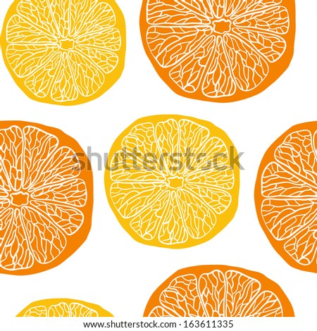 Seamless vector pattern with oranges and lemons - stock vector