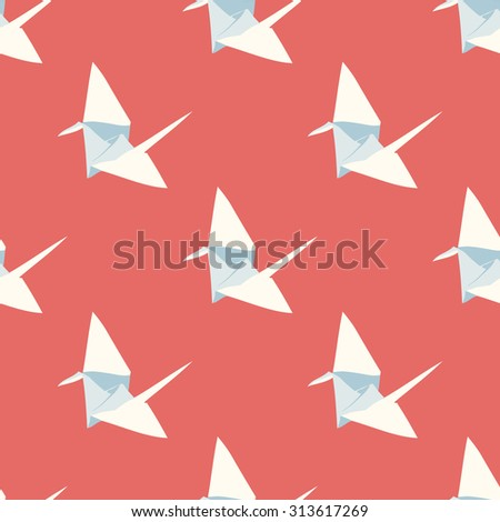 Seamless vector  pattern with origami birds - stock vector