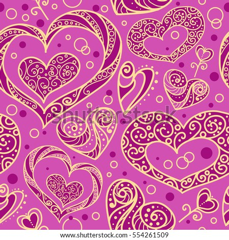 Seamless vector pattern with ornamental decorative hearts. Pink and yellow colors. Romance and Valentine's day theme.