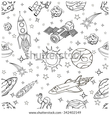 Seamless vector pattern with outer space doodles, symbols and design elements: spaceships, UFO, planets, stars, rocket, astronauts, sun. Isolated objects on white background. Hand drawn illustration