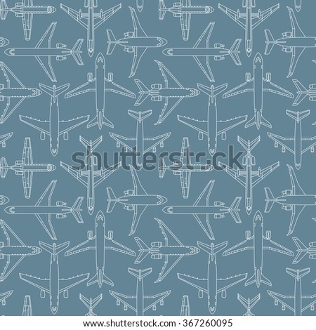 Seamless vector pattern with passenger airplanes number one can be used for graphic design, textile design or web design. - stock vector