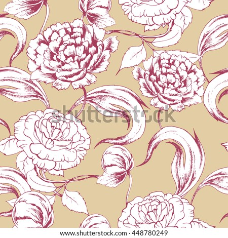Seamless vector pattern with peony and rose on beige. Hand drawn floral background with flowers in vintage style. For wedding, greeting card, wrapping paper , fabric and other seamless design.