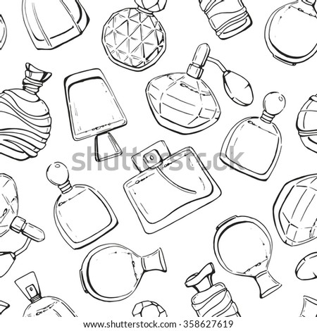 Seamless vector pattern with perfume. Black and white linear hand drawn perfume bottles. Sketch. Perfume for woman. Beauty vintage glass bottles.