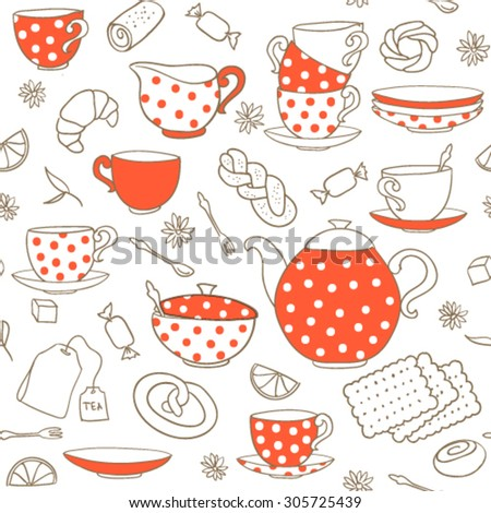 Seamless vector pattern with polka-dot porcelain.  - stock vector