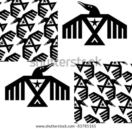 Seamless vector pattern with Raven or Crow - stock vector