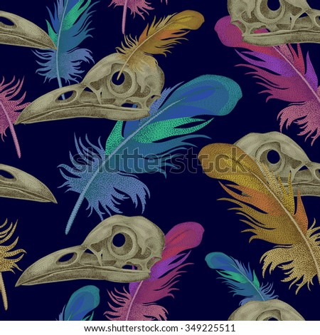 Seamless vector pattern with skulls and crow feathers. Decorative composition on the theme of death. - stock vector