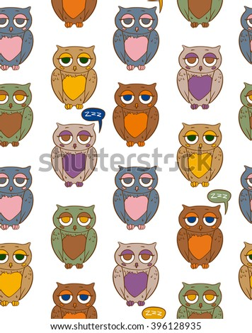 Seamless Vector Pattern with Sleepy Multicilored Owls on a White Background - stock vector