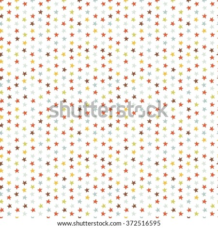 Seamless vector pattern with small colored stars of equal size on white background. Childish background for postcards, wallpaper, papers, textiles, bed linen, tissue 1.1