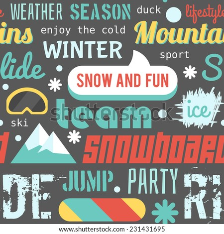 Seamless vector pattern with snowboarding stuff and words, dark colored version (flat design) - stock vector