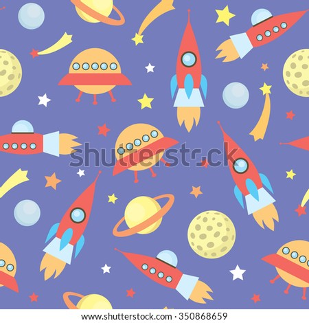 seamless vector pattern with space rockets, stars, planets, spaceships - stock vector