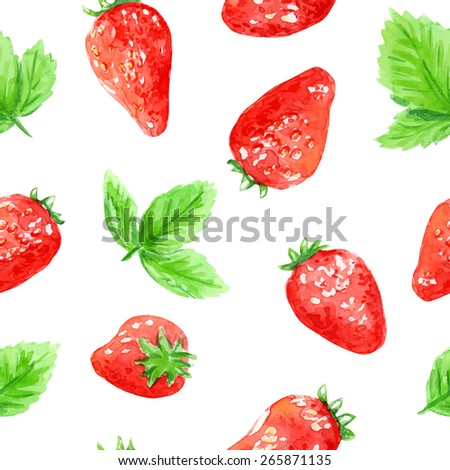 Seamless vector pattern with strawberry. Watercolor background.  - stock vector