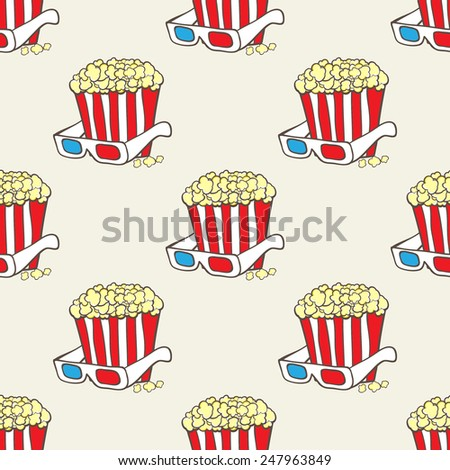 Seamless vector pattern with striped pop corn baskets and 3d glasses - stock vector